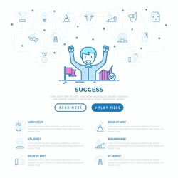 Success concept: smiling man with hands raised has achieved career growth. Vector illustration, web page template.