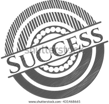 Success emblem draw with pencil effect