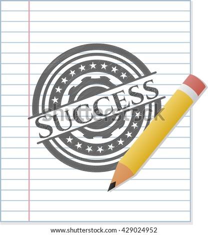 Success emblem with pencil effect