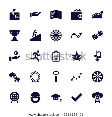 Success icon. collection of 25 success filled icons such as wallet, tie, puzzle, dart, medical clipboard, target, 1st place star. editable success icons for web and mobile.