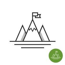 Success icon. Mountains with flag on a peak as aim achievement or leadership illustration.