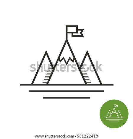 Shutterstock Success icon. Mountains with flag on a peak as aim achievement or leadership illustration.