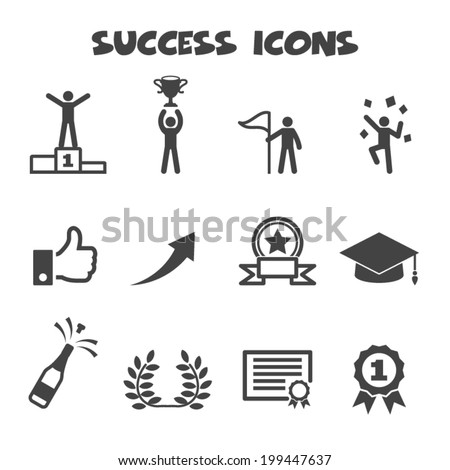 success icons, mono vector symbols