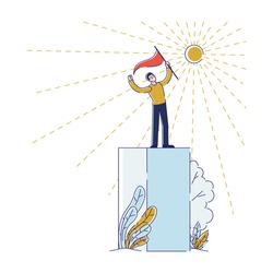 Success In Business Or Career Concept. Businessman Standing Proudly On Platform In Top Position Holding Flag. Character Has Reached Success. Cartoon Linear Outline Flat Style. Vector Illustration