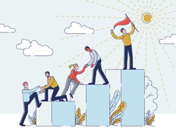 Success In Business Or Career Concept. Businessmen Climbing Career Ladder. People Stand On Podiums With Leader In Front In Top Position Holding Flag. Cartoon Linear Outline Flat Vector Illustration