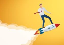 success in business start up businessman on rocket vector illustration