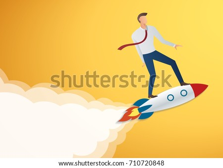 success in business start up businessman on rocket vector illustration