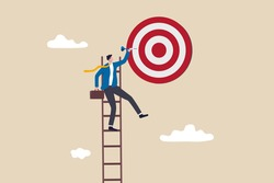 Success ladder, aspiration to achieve target, business goal or work purpose, aim for perfection concept, businessman climb up ladder high into the sky to aiming for perfect bullseye target dartboard.