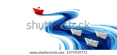 Success leadership concept, Origami red paper boat floating in front of white paper boats on winding blue river, Paper art design banner background, Vector illustration