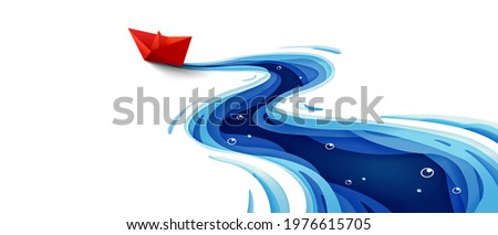 Success leadership concept, The journey of the origami red paper boat on winding blue river, Paper art design banner background, Vector illustration