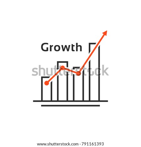 success like simple thin line growth logo. concept of grow up your capital or analysis prediction algorithm. contour flat style trend increment logotype graphic art design isolated on white background