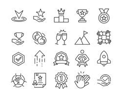 Success Line Icons - Vector Line Icons. Editable Stroke. Vector Graphic