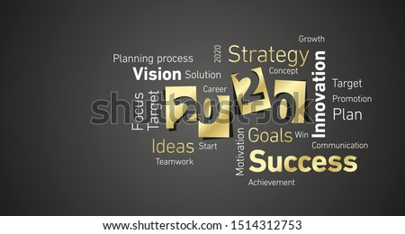 Success New Year 2020 gold white word cloud black board background