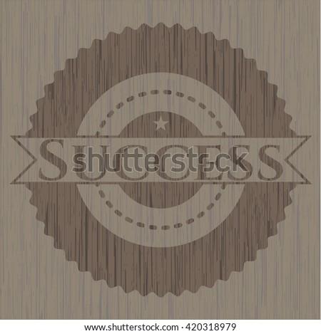 Success realistic wooden emblem