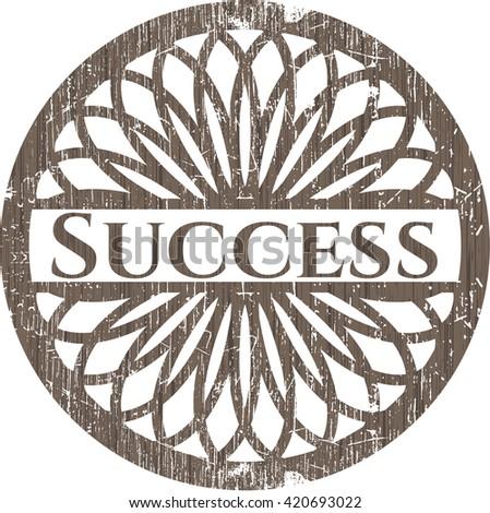 Success retro style wooden emblem