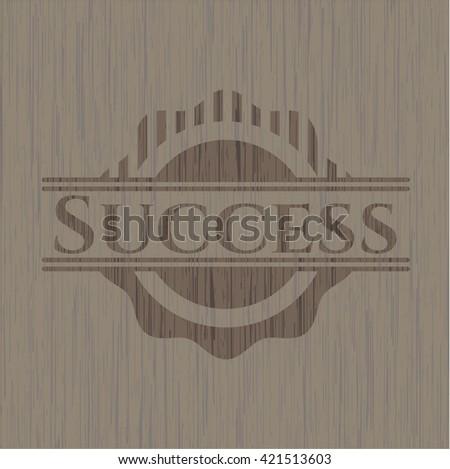Success retro wooden emblem
