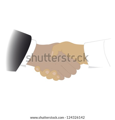 Success. Shaking hands, isolated on a white background, Vector - stock vector