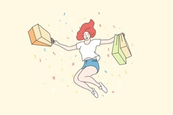 Success, shopping, purchase concept. Young happy cheerful woman or girl shopaholic cartoon character jumping with shop bags. Joy for buying sale goods, commercial discounts for customers illustration.
