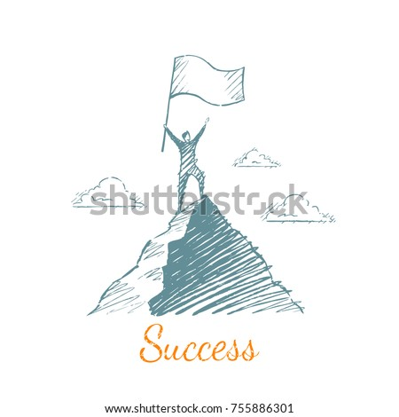 Success. The man climbed to the top of the mountain, holding a large flag in his hands. Vector illustration, business concept, hand drawn sketch.