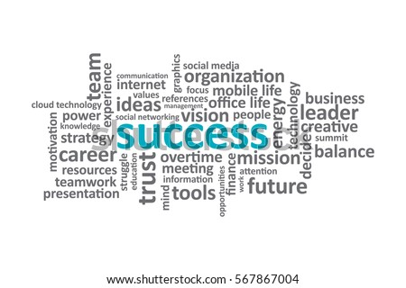 Success - Typography graphic work, consisting of important words and concepts in the business world.
