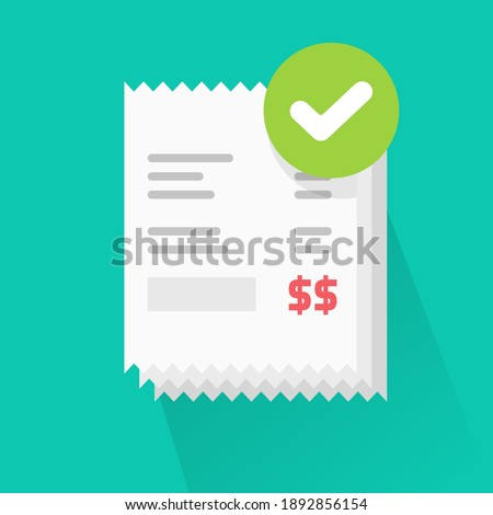 Success verified paid bills receipts with approved check mark notice on invoice vector flat cartoon icon, valid completed checkmark notificationon successful paid online orders pile icon Photo stock ©