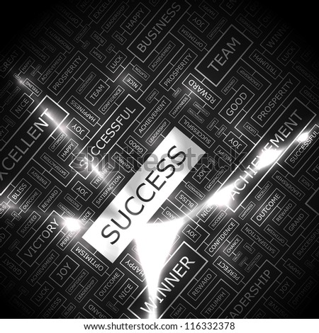SUCCESS. Word collage. Vector illustration.