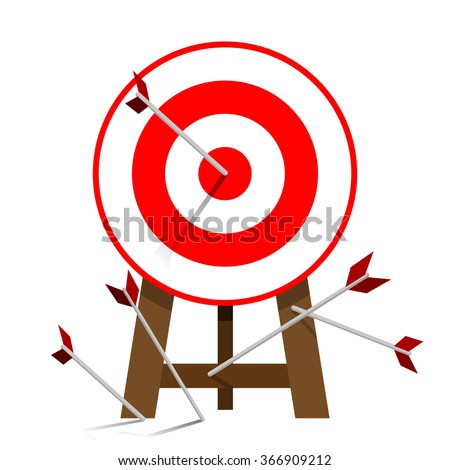 Successful attempt, Miss target, goals vector success business strategy concept icon isolated white