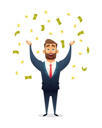 Successful beard businessman character celebrates success, standing under money rain banknotes and coins. Cash falling on happy business man. Business concept of success, achievement, wealth.