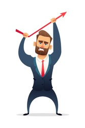 Successful beard businessman character in suit increasing sales. Manager bends up sales curve. Business concept illustration.