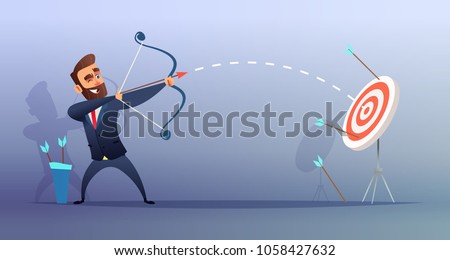 Successful beard businessman character shoots or aiming at the target. Business concept illustration.