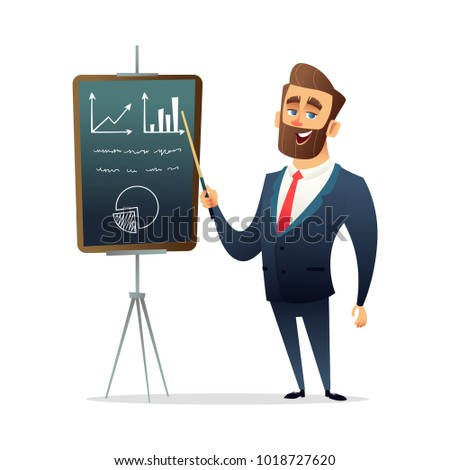 Successful beard businessman character standing near presentation screen board. Business training, meeting or seminar concept illustration.