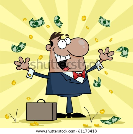 Successful Black Businessman Standing Under Falling Money