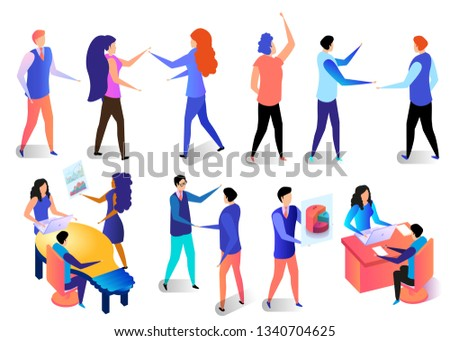 Successful Business Characters Poses and Activities in Office Set. Employees at Work. Communicating People in Different Situations Isolated on White Background. 3D Isometric Vector Illustration