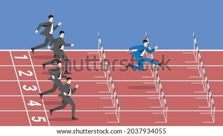 Successful business competition concept. The fastest leader jumping overcomes obstacles. A different businessman from other competitors is competing for rivals by running faster and better start. Photo stock ©