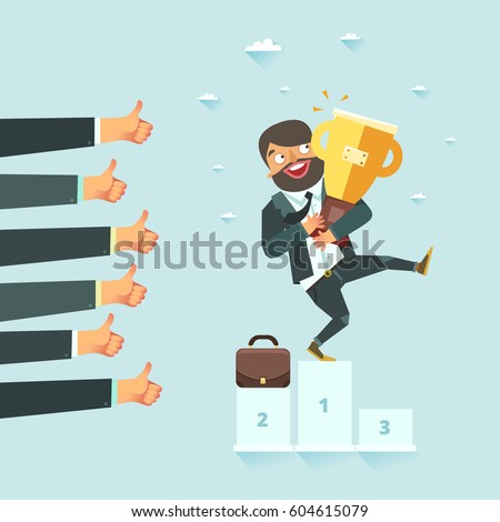 Successful business concept. Businessman standing on the winners podium with award. Lots of thumbs up hands. Vector illustration in flat style.