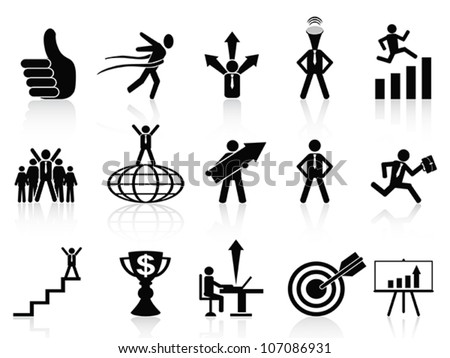 successful business icons set - stock vector