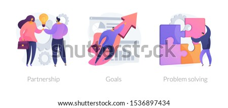 Successful business icons set. Effective teamwork, career promotion, solution development. Partnership, goals, problem solving metaphors. Vector isolated concept metaphor illustrations