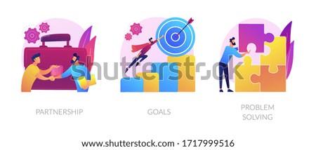 Successful business icons set. Effective teamwork, career promotion, solution development. Partnership, goals, problem solving metaphors. Vector isolated concept metaphor illustrations