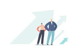 Successful Business Leaders Grow, Financial Success, Career Growth Concept. People Stand at Rising Arrows, Move to Success. Characters with Arms Akimbo at Growing Arrows. Cartoon Vector Illustration