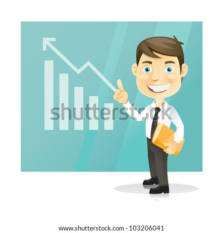 Successful business man. Cartoon character.Vector Illustration