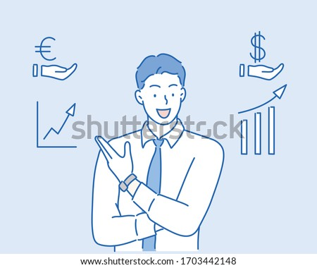 Successful Business Man or Coach Character Dressed in Blue Jumper Stand at Chart Board Showing on Graphs and Growing Data Analysis Diagrams, Board Meeting.Hand drawn style vector design illustrations.