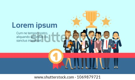 Successful Business People Team Winners Over Golden Cup Background With Copy Space