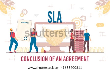 Successful Business Solution and Agreement Level. Deal Conclusion, Cooperation Development through Modern Cloud Technology and Software Service. Technical Support Team and Partner. Vector Illustration