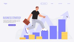 Successful business strategy, sales growth, investment, company future potential banner, landing web page. Analytical service and business promotion concept. Man with suitcase on career ladder.