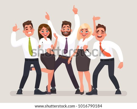 Successful business team. A group of happy office workers celebrating the victory. People with their hands up. Vector illustration in cartoon style