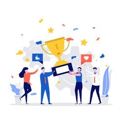 Successful business team concept. Happy business people holding prize winner cup and celebrating achievement. Modern flat style illustration for teamwork and award concept.