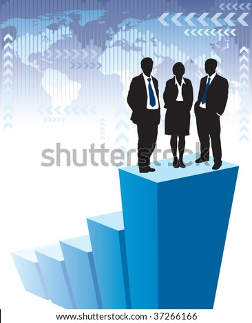 Successful business team is standing on a large graph, world map in the background. The base map is from Central Intelligence Agency Web site. - stock vector