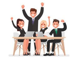 Successful business team led by a leader. Vector illustration in a flat style