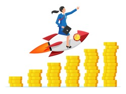 Successful business woman flying on rocket on coin graph going up. Businesswoman on flying space ship. New business or startup. Idea, growing, success, start up strategy. Flat vector illustration