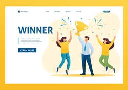 Successful businessman celebrating a victory, and to triumph Cup winners. Flat 2D character. Landing page concepts and web design